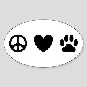 Peace Love Dogs [st b/w] Sticker (Oval)